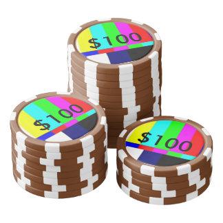 Old School TV Poker Playing chips $100 Poker Chips Set