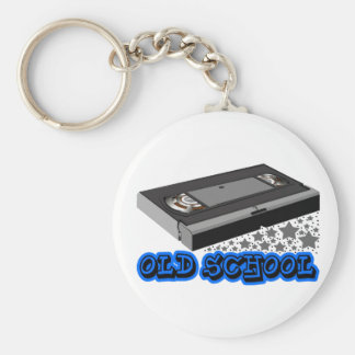 Old School vhs Basic Round Button Keychain