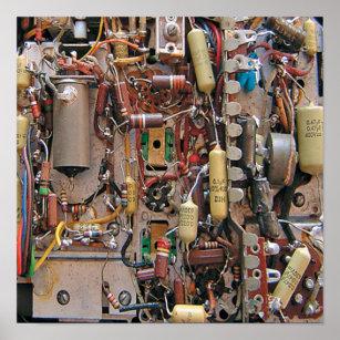 old school vintage circuit board with resistors poster