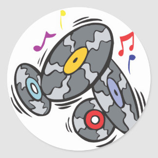 old school vinyl records classic round sticker