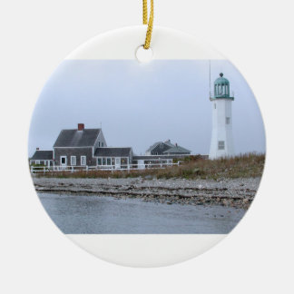 Old Scituate Lighthouse Massachusetts Round Ceramic Ornament