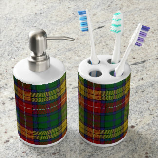 Old Scots Clan Buchanan Tartan Plaid Soap Dispenser And Toothbrush Holder
