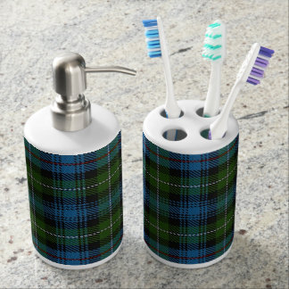 Old Scots Clan MacKenzie Tartan Plaid Soap Dispenser And Toothbrush Holder