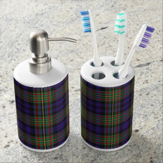 Old Scots Clan MacLellan Tartan Plaid Soap Dispenser And Toothbrush Holder