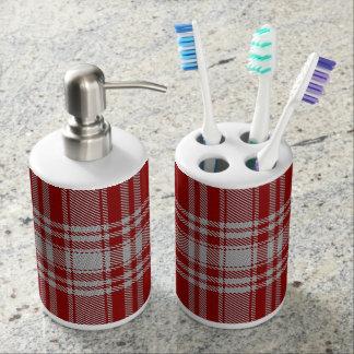 Old Scots Clan Menzies Red White Tartan Plaid Bathroom Set