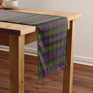 Old Scottish Clan Carnegie Tartan Plaid Short Table Runner