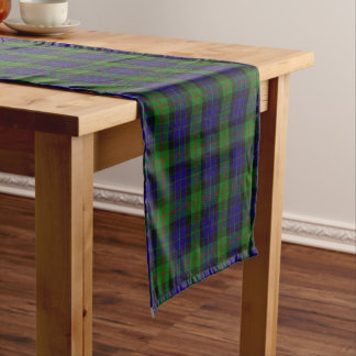 Old Scottish Clan Gunn Tartan Plaid Short Table Runner