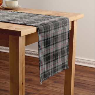 Old Scottish Clan Moffat Gray Black Red Tartan Short Table Runner