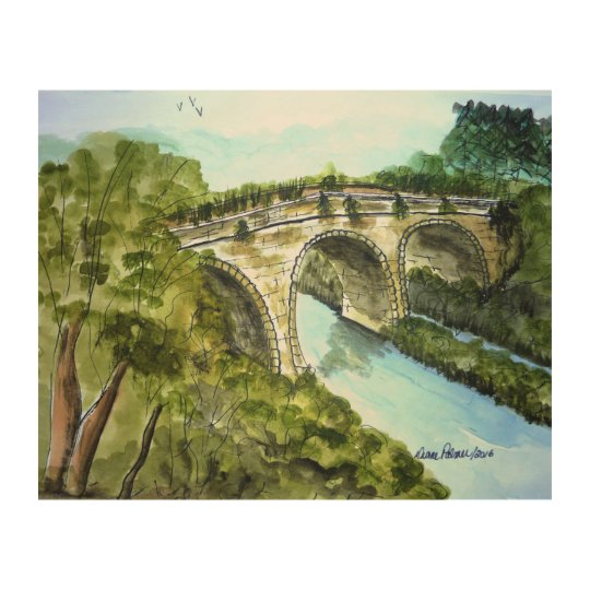 Old Scottish Stone Bridge Painting Wood Wall Decor