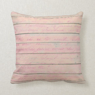 Old Script Cottage Metallic Wood Grungy Pink Throw Pillow