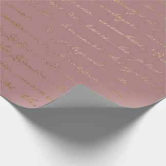 Old Script Gold Mauve Lilac Blush Pink Royal Paris Wrapping Paper