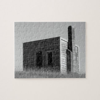 old settlers cabin hut shack black and white jigsaw puzzle