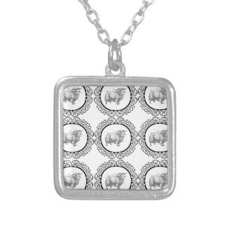old sheep in bunch silver plated necklace