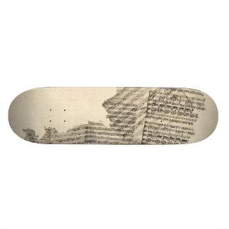Old Sheet Music Map of Austria Map Skateboard Deck