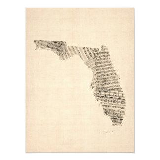 Old Sheet Music Map of Florida Photo