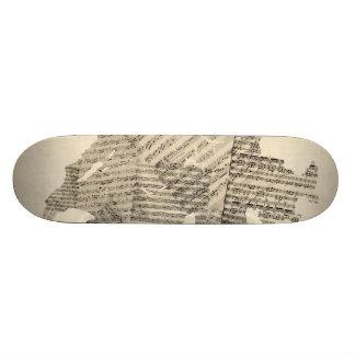 Old Sheet Music Map of Switzerland Map Custom Skateboard