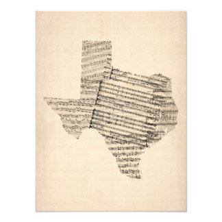 Old Sheet Music Map of Texas Photograph