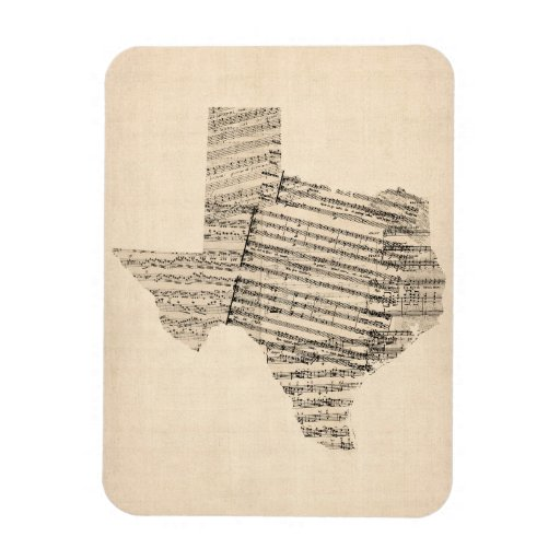 Old Sheet Music Map of Texas Rectangle Magnet