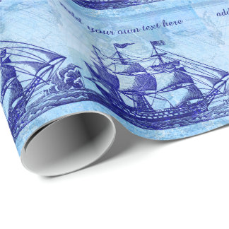 Old Ship and Map Blue Beach House Wrapping Paper
