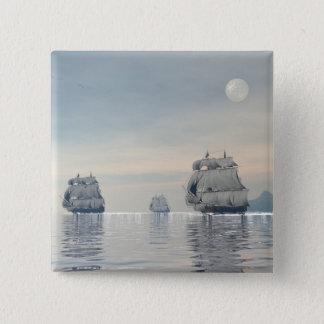 Old ships on the ocean - 3D render 2 Inch Square Button