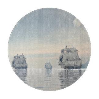 Old ships on the ocean - 3D render Boards