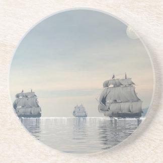 Old ships on the ocean - 3D render Coaster