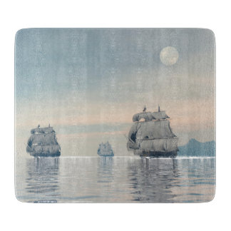 Old ships on the ocean - 3D render Cutting Board
