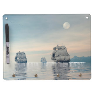 Old ships on the ocean - 3D render Dry Erase Board With Keychain Holder