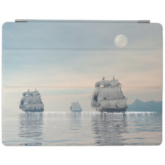 Old ships on the ocean - 3D render iPad Cover