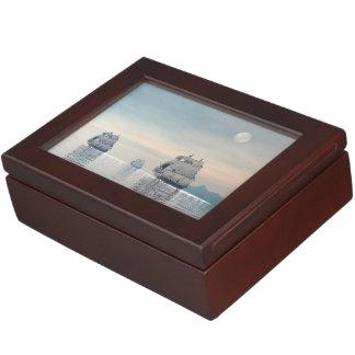 Old ships on the ocean - 3D render Keepsake Box