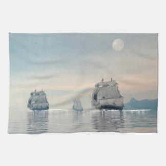 Old ships on the ocean - 3D render Kitchen Towel