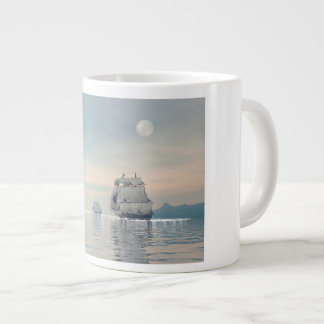 Old ships on the ocean - 3D render Large Coffee Mug