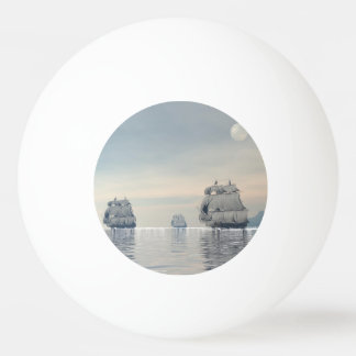 Old ships on the ocean - 3D render Ping Pong Ball