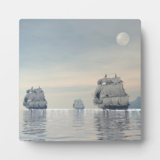 Old ships on the ocean - 3D render Plaque