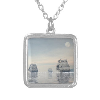 Old ships on the ocean - 3D render Silver Plated Necklace