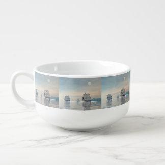 Old ships on the ocean - 3D render Soup Mug