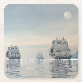 Old ships on the ocean - 3D render Square Paper Coaster
