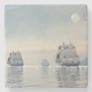 Old ships on the ocean - 3D render Stone Coaster