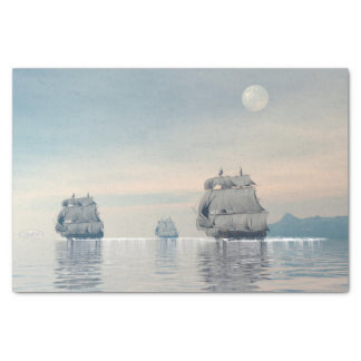Old ships on the ocean - 3D render Tissue Paper