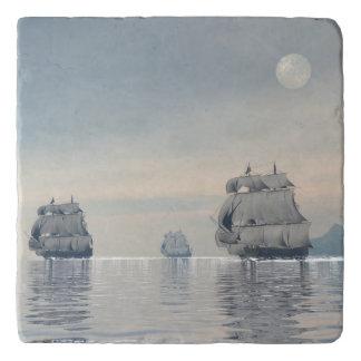 Old ships on the ocean - 3D render Trivet