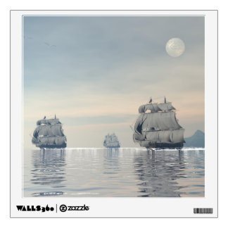 Old ships on the ocean - 3D render Wall Sticker
