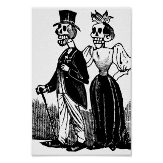 Old Skeleton Couple circa early 1900s, Mexico Poster