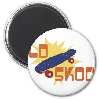 Old Skool Skateboard 2 Inch Round Magnet