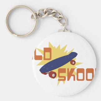 Old Skool Skateboard Basic Round Button Keychain