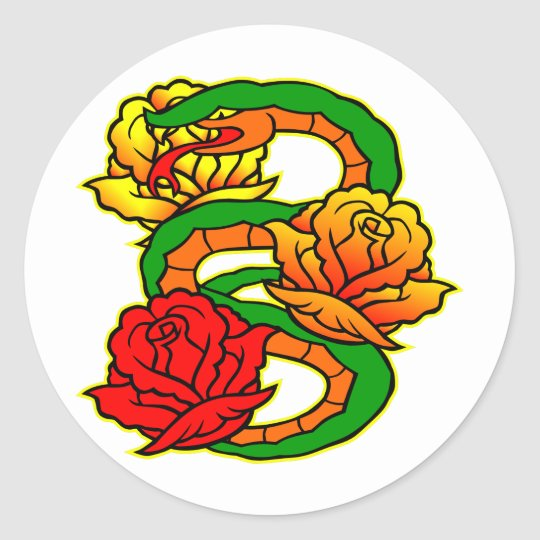 Old Skool Snake & Roses Tattoo Classic Round Sticker