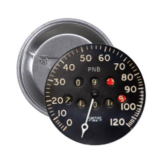 old speedometer gauge from a vintage race car pinback buttons