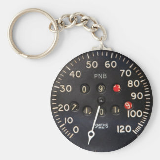 Old speedometer gauge from a vintage race car key chains