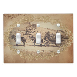 Old stagecoach photo light switch cover