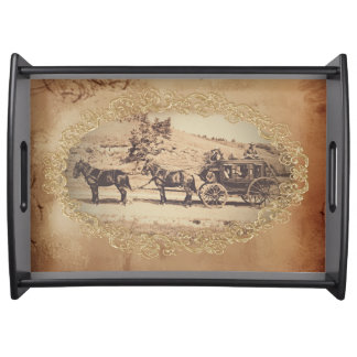 Old stagecoach photo serving tray