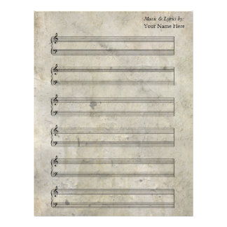 Old Stained Blank Sheet Music  Piano Staves Letterhead